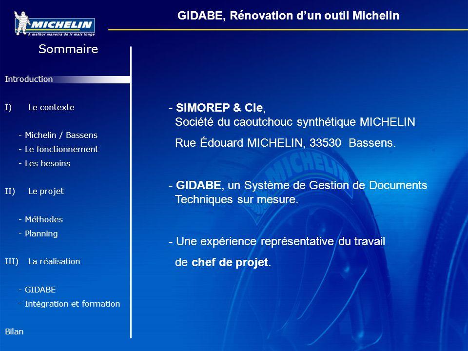 Sommaire Introduction I)Le contexte - Michelin / Bassens - Le fonctionnement - Les besoins II) Le projet - Méthodes - Planning III) La réalisation - G