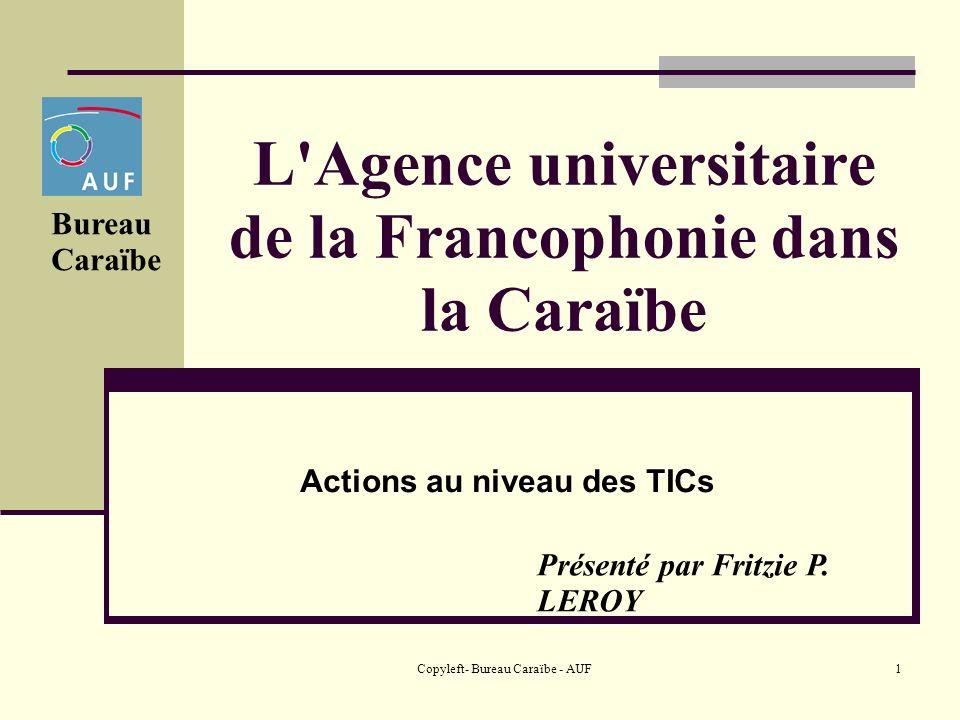 Copyleft- Bureau Caraïbe - AUF1 L Agence universitaire de la Francophonie dans la Caraïbe Actions au niveau des TICs Bureau Caraïbe Présenté par Fritzie P.