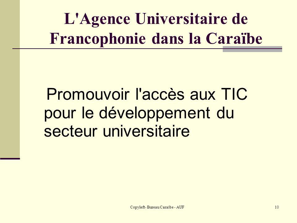Copyleft- Bureau Caraïbe - AUF10 L Agence Universitaire de Francophonie dans la Caraïbe Promouvoir l accès aux TIC pour le développement du secteur universitaire