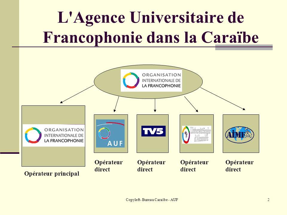 Copyleft- Bureau Caraïbe - AUF3 L Agence Universitaire de Francophonie dans la Caraïbe LAgence universitaire de la Francophonie Plus de 500 établissements membres 9 bureaux régionaux, 6 antennes et 1 délégation à travers le monde 43 campus numériques francophones dans 37 pays 4 instituts de 3 ième cycle
