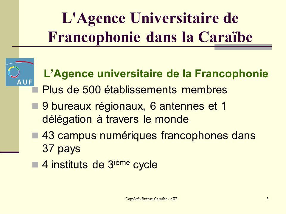 Copyleft- Bureau Caraïbe - AUF4 L Agence Universitaire de Francophonie dans la Caraïbe Le Bureau Caraïbe Implanté en Haïti depuis 1987, le BC permet aux universités haïtiennes et à celles de la région de mettre en œuvre des projets scientifiques de recherche communs.