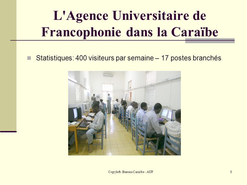 Copyleft- Bureau Caraïbe - AUF9 L Agence Universitaire de Francophonie dans la Caraïbe Point d accès dans les villes de province en Haïti mais aussi à sainte Lucie, CUBA.