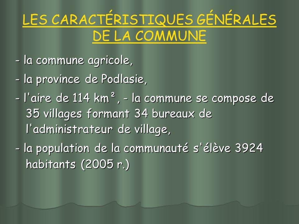 LES CARACTÉRISTIQUES GÉNÉRALES DE LA COMMUNE - la commune agricole, - la province de Podlasie, - l aire de 114 km², - la commune se compose de 35 villages formant 34 bureaux de l administrateur de village, - la population de la communauté s élève 3924 habitants (2005 r.)