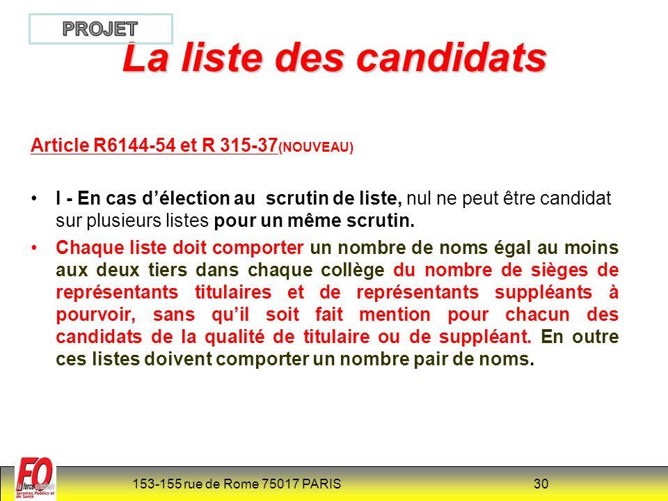 153-155 rue de Rome 75017 PARIS 30 Article R6144-54 et R 315-37 (NOUVEAU) I - En cas délection au scrutin de liste, nul ne peut être candidat sur plusieurs listes pour un même scrutin.