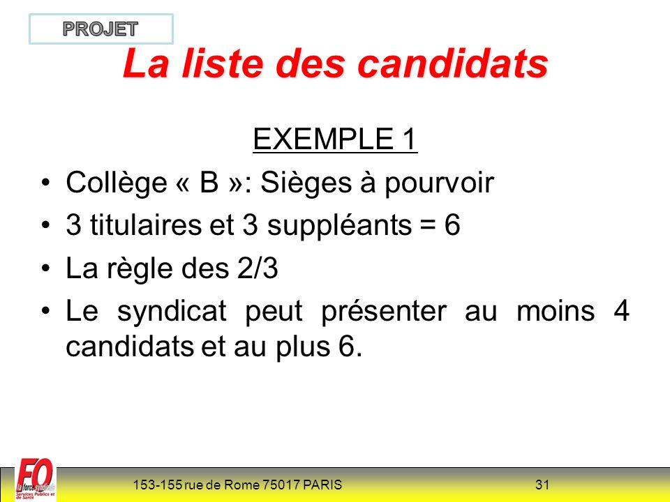 153-155 rue de Rome 75017 PARIS 31 La liste des candidats EXEMPLE 1 Collège « B »: Sièges à pourvoir 3 titulaires et 3 suppléants = 6 La règle des 2/3 Le syndicat peut présenter au moins 4 candidats et au plus 6.