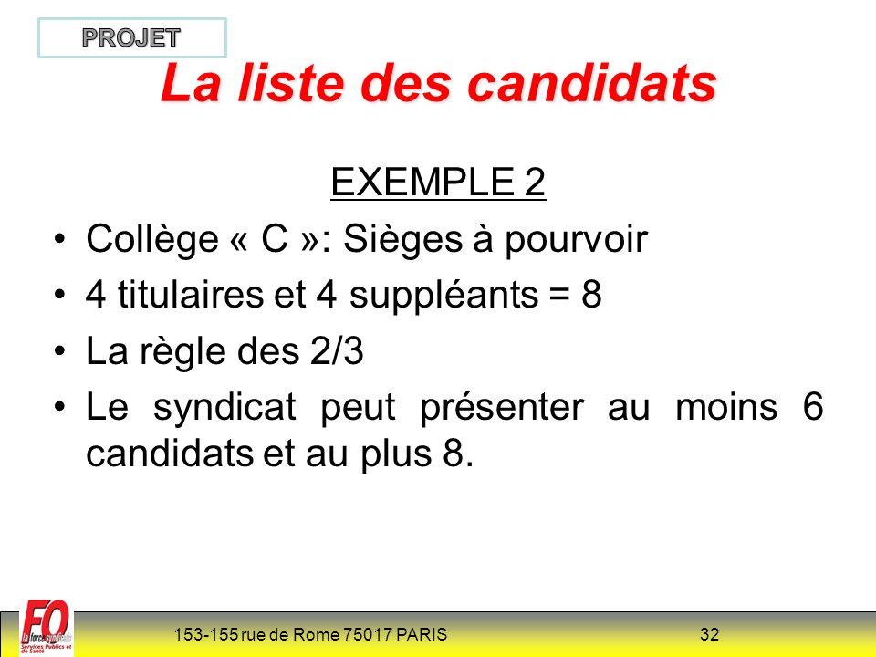 153-155 rue de Rome 75017 PARIS 32 La liste des candidats EXEMPLE 2 Collège « C »: Sièges à pourvoir 4 titulaires et 4 suppléants = 8 La règle des 2/3 Le syndicat peut présenter au moins 6 candidats et au plus 8.