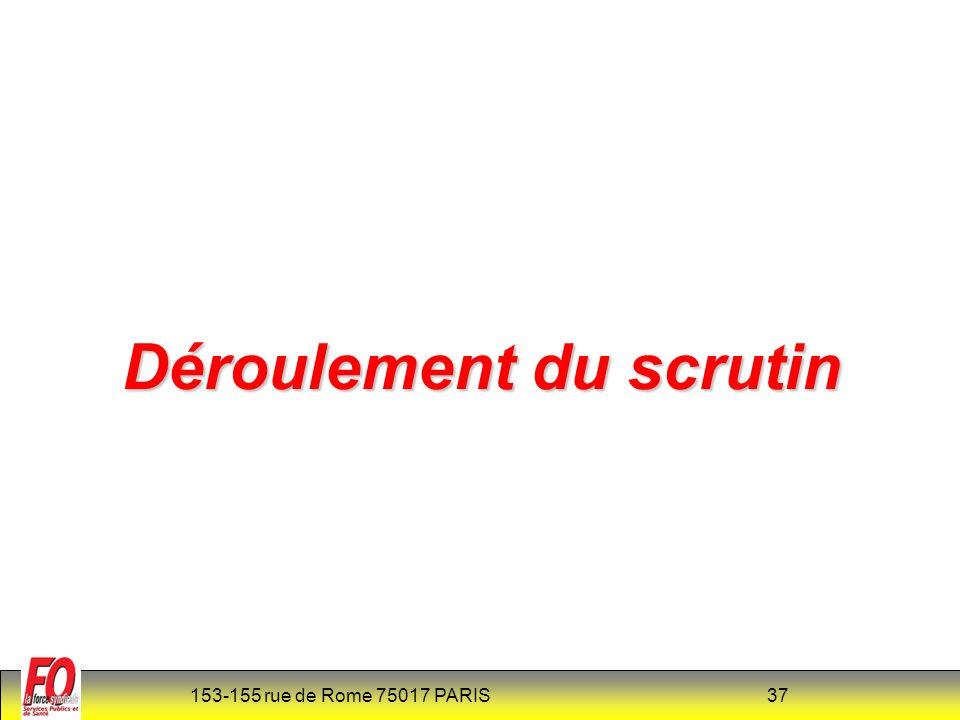 153-155 rue de Rome 75017 PARIS 37 Déroulement du scrutin