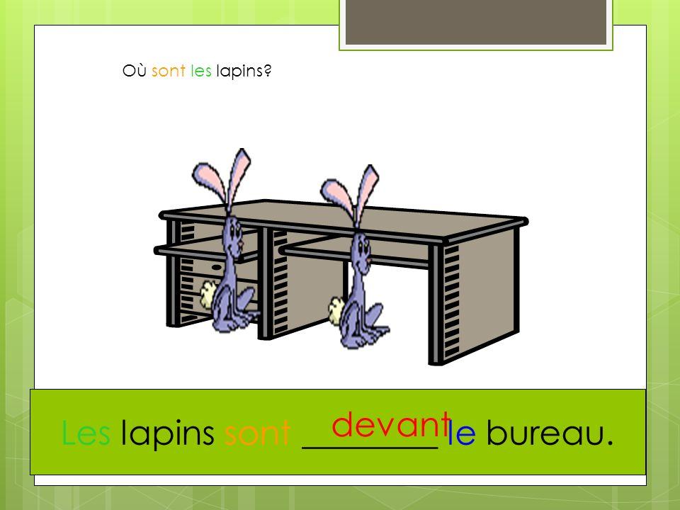 Où sont les lapins? Les lapins sont ________ le bureau. devant