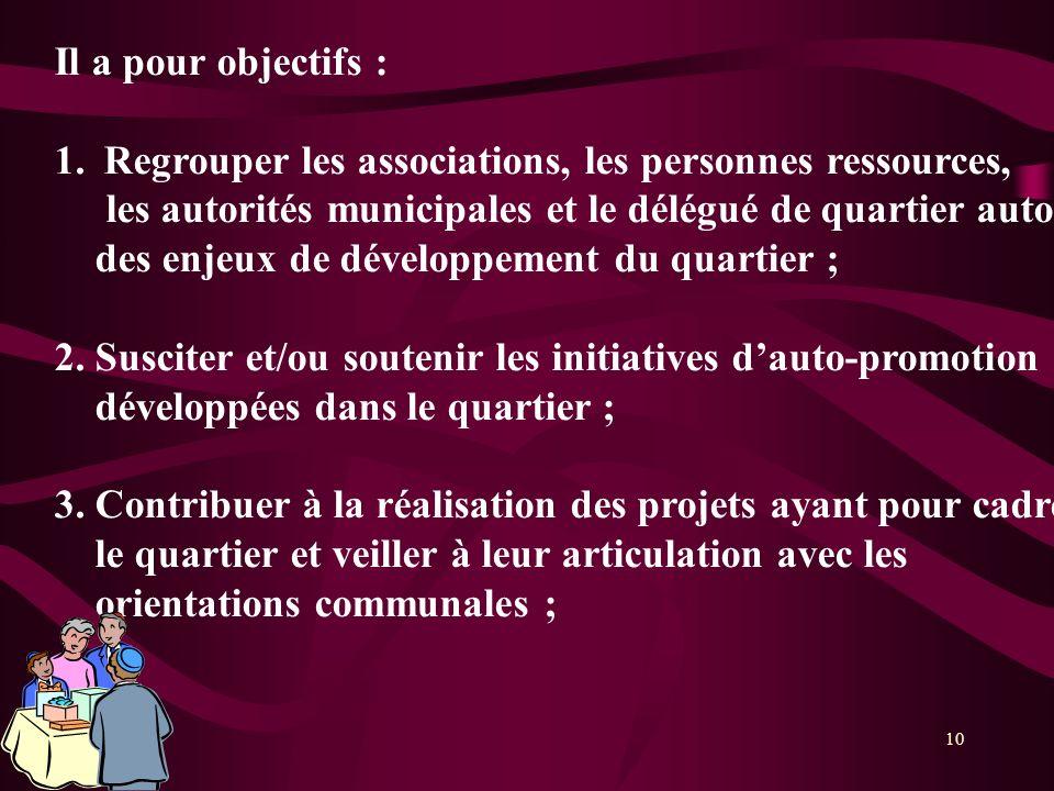 10 Il a pour objectifs : 1.Regrouper les associations, les personnes ressources, les autorités municipales et le délégué de quartier autour des enjeux