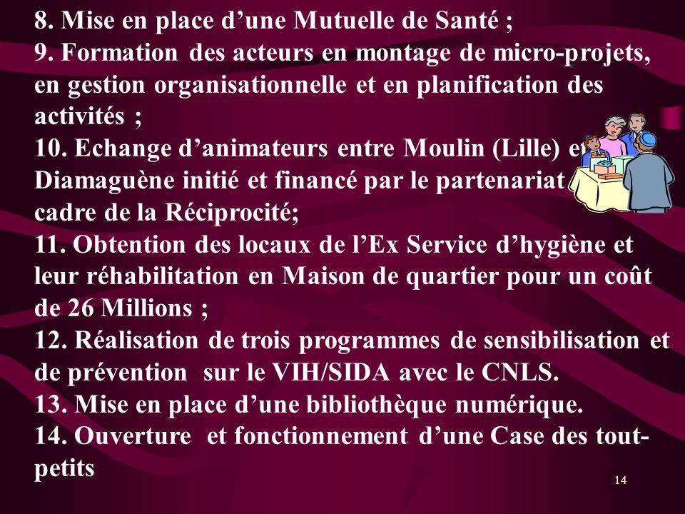 14 8. Mise en place dune Mutuelle de Santé ; 9. Formation des acteurs en montage de micro-projets, en gestion organisationnelle et en planification de