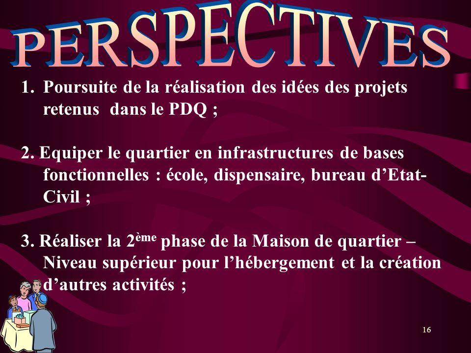 16 1.Poursuite de la réalisation des idées des projets retenus dans le PDQ ; 2. Equiper le quartier en infrastructures de bases fonctionnelles : école
