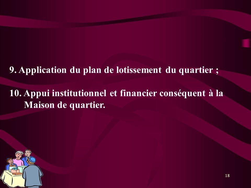18 9. Application du plan de lotissement du quartier ; 10. Appui institutionnel et financier conséquent à la Maison de quartier.