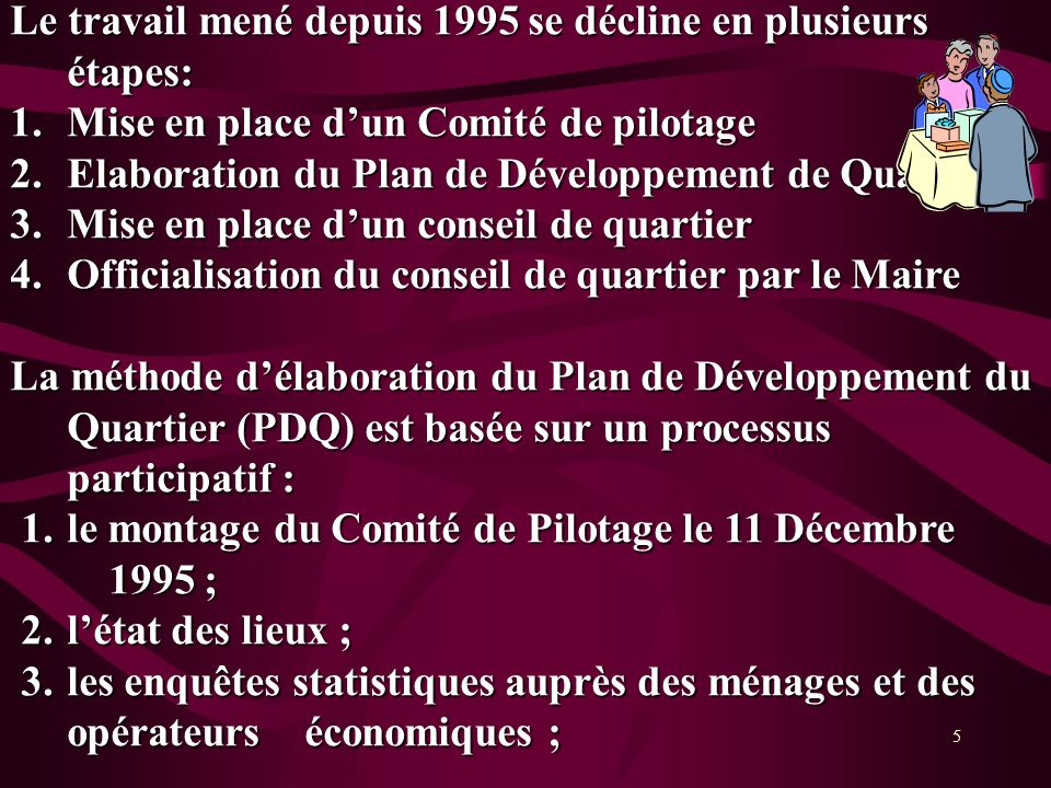 5 Le travail mené depuis 1995 se décline en plusieurs étapes: 1.Mise en place dun Comité de pilotage 2.Elaboration du Plan de Développement de Quartie