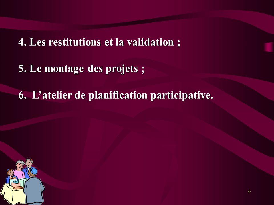 6 4. Les restitutions et la validation ; 5. Le montage des projets ; 6. Latelier de planification participative.