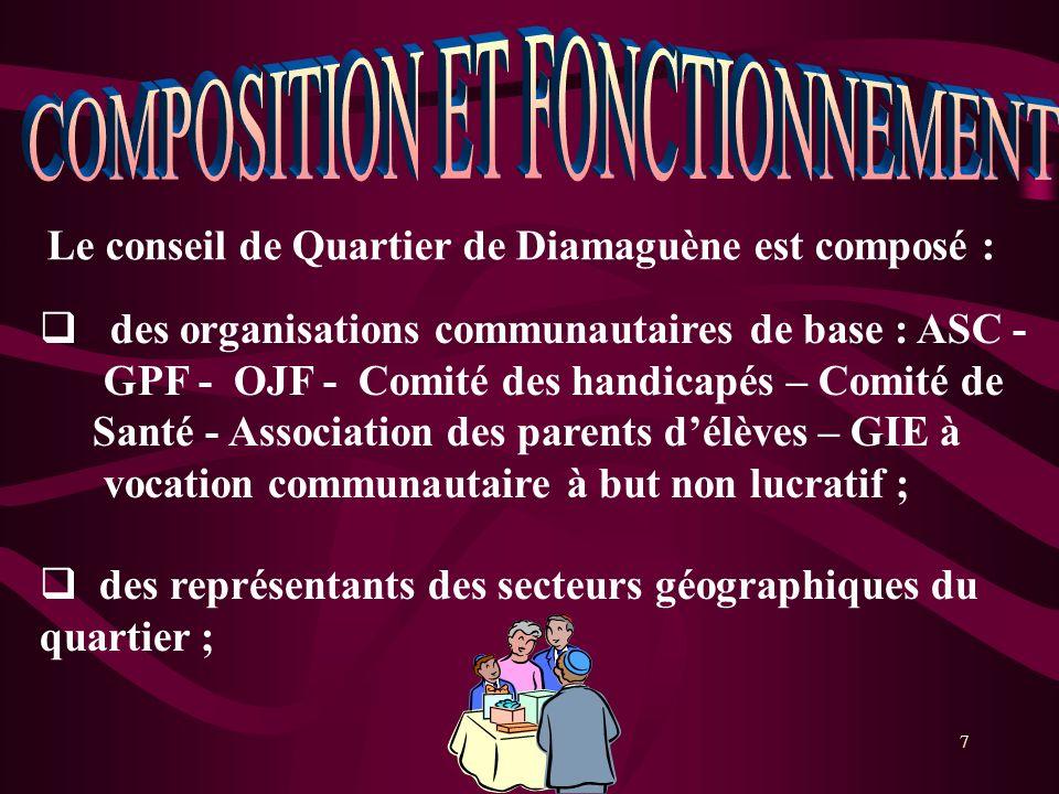7 Le conseil de Quartier de Diamaguène est composé : des organisations communautaires de base : ASC - GPF - OJF - Comité des handicapés – Comité de Sa