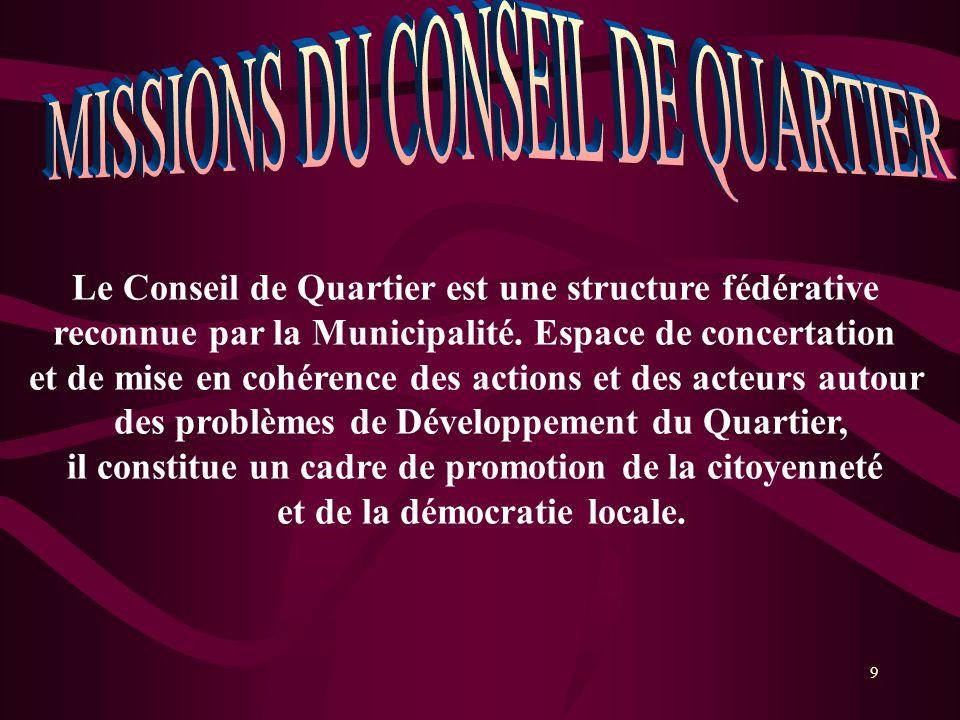 10 Il a pour objectifs : 1.Regrouper les associations, les personnes ressources, les autorités municipales et le délégué de quartier autour des enjeux de développement du quartier ; 2.