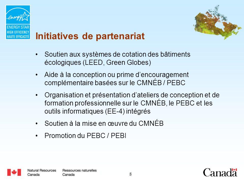 9 Préalable defficacité énergétique LEED Canada-NC harmonisé avec le PEBC Le PEBC passera en revue toutes les simulations EE4 pour LEED (avant de les présenter au CBDCa) 96 bâtiments inscrits 11 projets certifiés à ce jour PEBC et LEED Siège social de lAmbulance Saint-Jean, Edmonton Mountain Equipment Co-Op, Winnipeg