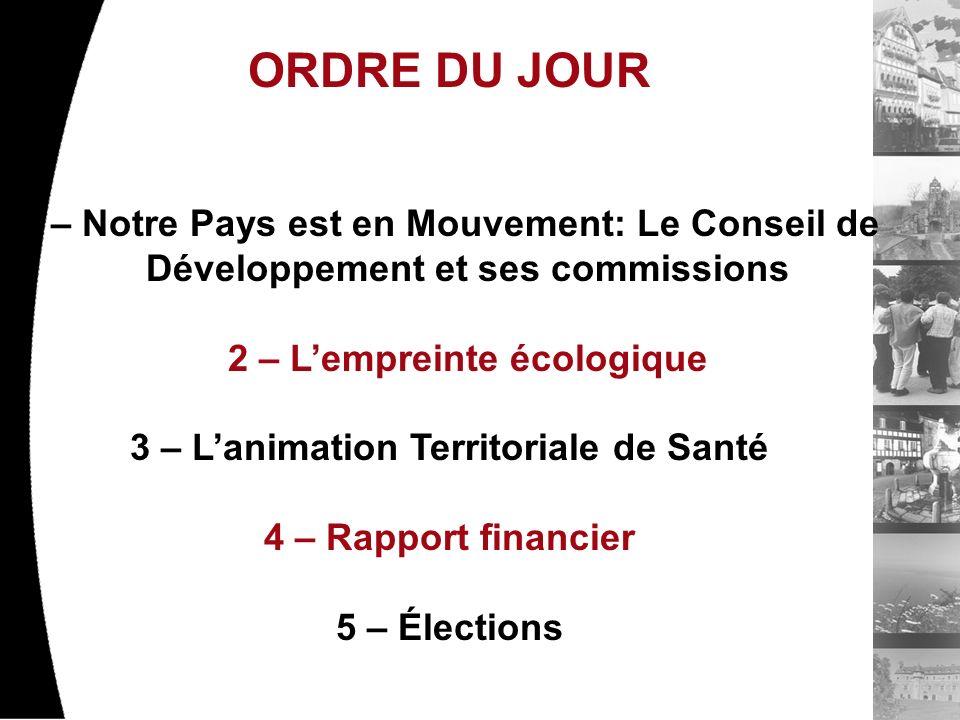 ORDRE DU JOUR 1 – Notre Pays est en Mouvement: Le Conseil de Développement et ses commissions 2 – Lempreinte écologique 3 – Lanimation Territoriale de Santé 4 – Rapport financier 5 – Élections