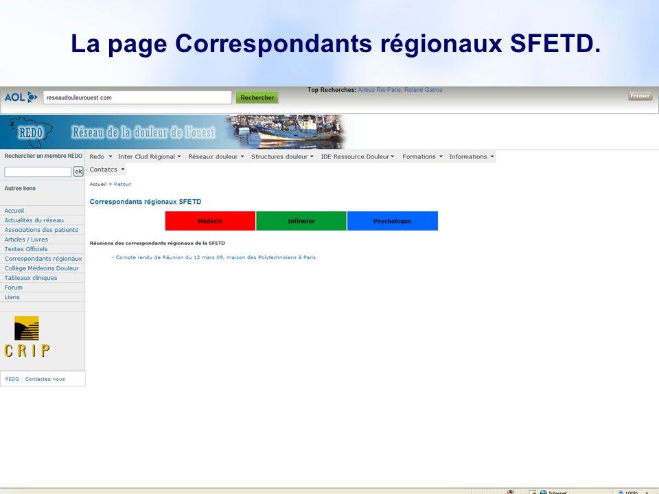 14 La page Correspondants régionaux SFETD.