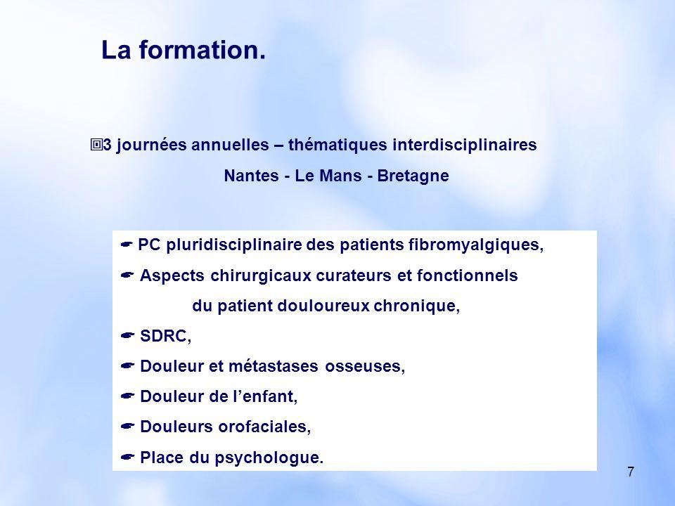 7 3 journées annuelles – thématiques interdisciplinaires Nantes - Le Mans - Bretagne PC pluridisciplinaire des patients fibromyalgiques, Aspects chiru