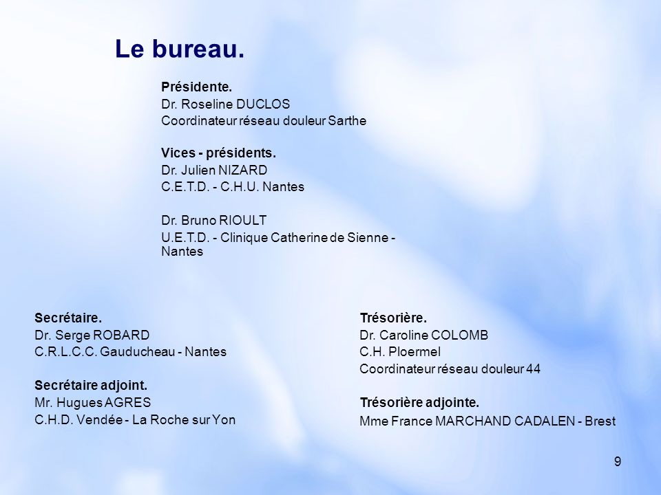 9 Secrétaire. Dr. Serge ROBARD C.R.L.C.C. Gauducheau - Nantes Secrétaire adjoint. Mr. Hugues AGRES C.H.D. Vendée - La Roche sur Yon Présidente. Dr. Ro