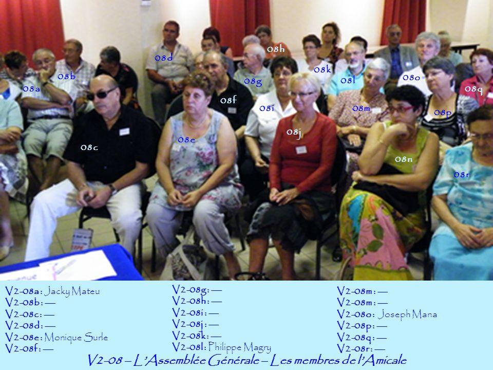 V2-08 – LAssemblée Générale – Les membres de lAmicale 08a 08b V2-08a : Jacky Mateu V2-08b : --- V2-08c : --- V2-08d : --- V2-08e : Monique Surle V2-08