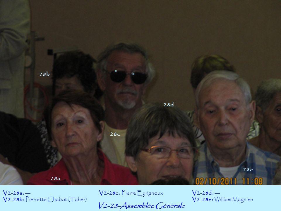 V2-28-Assemblée Générale V2-28a : --- V2-28b : Pierrette Chabot (Taher) V2-28d : --- V2-28e : William Magnien V2-28c : Pierre Eyrignoux 28b 28a 28c 28