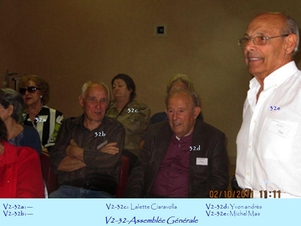 V2-32-Assemblée Générale V2-32a : --- V2-32b : --- V2-32d : Yvon andrès V2-32e : Michel Mas V2-32c : Lalette Ciaravolla 32b 32a 32c 32d 28e 32e