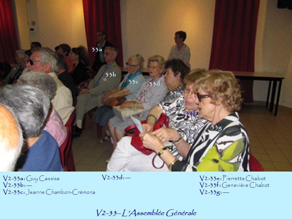 V2-33– LAssemblée Générale 33a 33b V2-33a : Guy Cassisa V2-33b : --- V2-33c : Jeanne Chambon-Crémona 33f 33g 33c 33d 33e V2-33d : --- V2-33e : Pierret