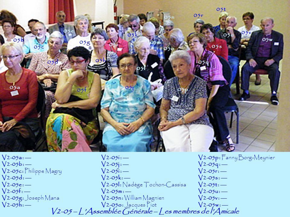 V2-06 – LAssemblée Générale – Les membres de lAmicale 06a 06b V2-06a : --- V2-06b : --- V2-06c : --- V2-06d : Ginette Pellicano V2-06e : Elisabeth Borg V2-06f : Michèle Borg V2-06g : Ghislaine Surle V2-06h : --- 06f 06g 06h 06j06c 06d 06e 06k 06l 06m 06n 06o V2-06i : --- V2-06j : --- V2-06i : --- V2-06k : Jean-Claude Boronat V2-06l : Monique Surle V2-06m : Aliette Aymard-Mateu V2-06n : Jacky Mateu V2-06o : --- V2-06p : --- V2-06q : --- V2-06r : --- V2-06s : --- V2-06t : --- V2-06u : --- V2-06v : --- 06p 06r 06q 06v 06s 06i 06t