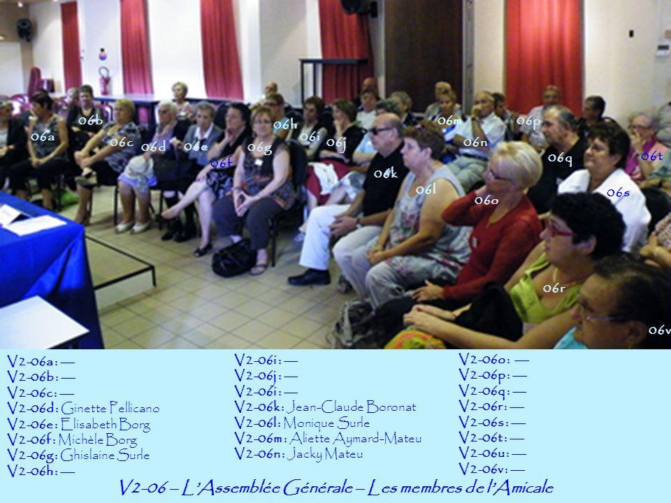 V2-07 – LAssemblée Générale – Les membres de lAmicale 07a 07b V2-07a : Michèle Borg-Perrachon V2-07b : Jacky Mateu V2-07c : Thérèse Gori-Laffont V2-07d : Ghislaine Surle V2-07e : --- 07f 07g 07h 07j 07c 07d 07e 07k 07l 07m 07n 07o V2-07f : --- V2-07g : --- V2-07h : Monique Surle V2-07i : Joseph Mana V2-07j : --- 07i V2-07k : --- V2-07l : --- V2-07m : --- V2-07n : -- V2-07o : Fanny Borg-Meynier