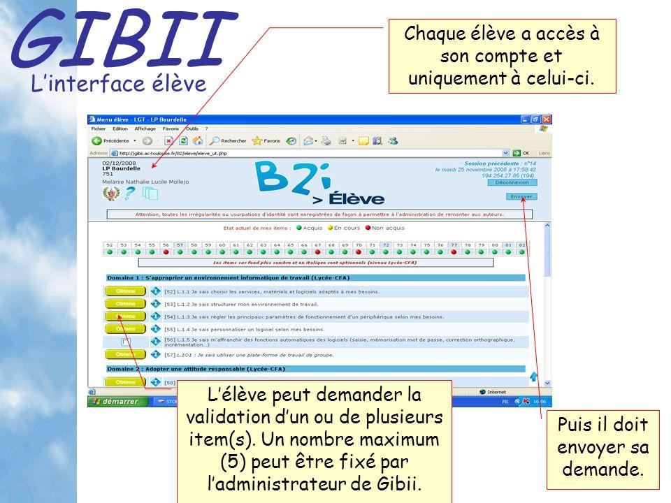 GIBII Linterface élève Chaque élève a accès à son compte et uniquement à celui-ci.