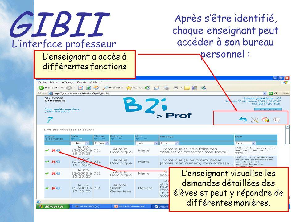 GIBII Linterface professeur Après sêtre identifié, chaque enseignant peut accéder à son bureau personnel : Lenseignant visualise les demandes détaillées des élèves et peut y répondre de différentes manières.