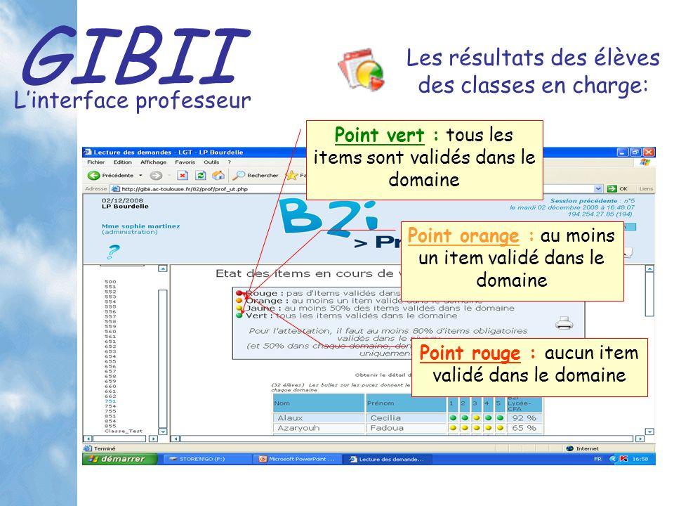 GIBII Linterface professeur Les résultats des élèves des classes en charge: Point vert : tous les items sont validés dans le domaine Point orange : au moins un item validé dans le domaine Point rouge : aucun item validé dans le domaine