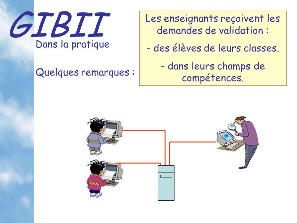 GIBII Dans la pratique Les enseignants reçoivent les demandes de validation : - des élèves de leurs classes.