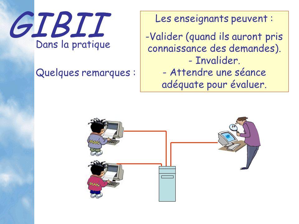 GIBII Dans la pratique Les enseignants peuvent : -Valider (quand ils auront pris connaissance des demandes).