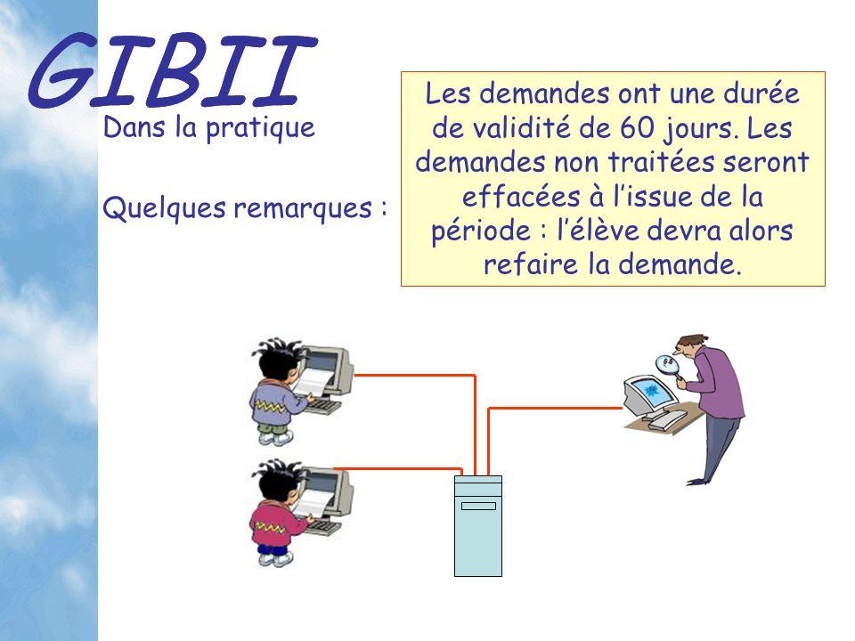 GIBII Dans la pratique Les demandes ont une durée de validité de 60 jours.