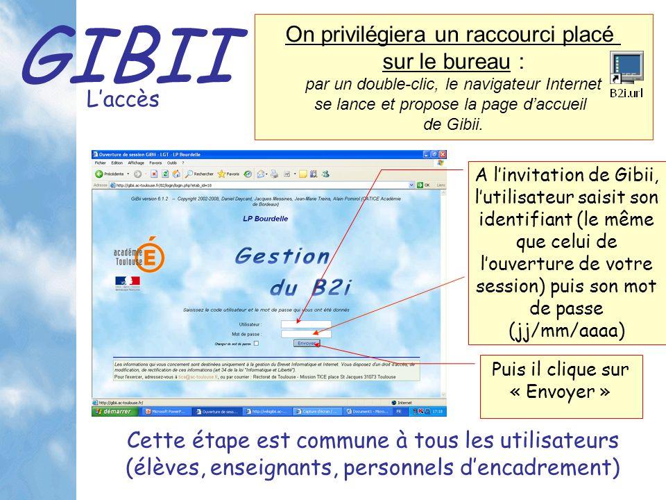 GIBII Laccès A linvitation de Gibii, lutilisateur saisit son identifiant (le même que celui de louverture de votre session) puis son mot de passe (jj/mm/aaaa) Cette étape est commune à tous les utilisateurs (élèves, enseignants, personnels dencadrement) Puis il clique sur « Envoyer » On privilégiera un raccourci placé sur le bureau : par un double-clic, le navigateur Internet se lance et propose la page daccueil de Gibii.