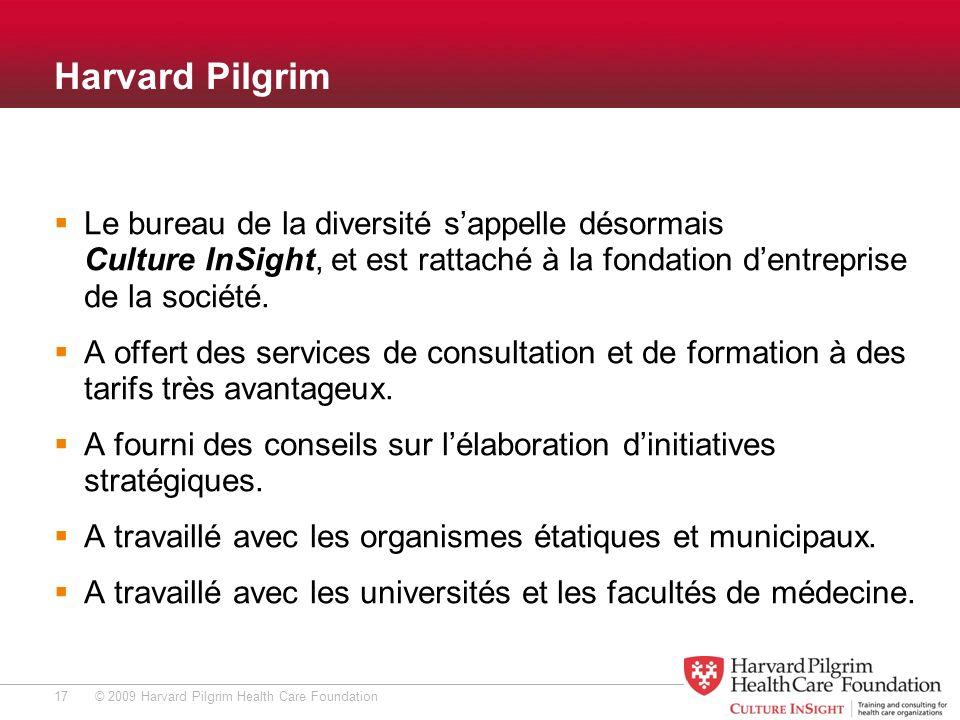 © 2009 Harvard Pilgrim Health Care Foundation Harvard Pilgrim Le bureau de la diversité sappelle désormais Culture InSight, et est rattaché à la fondation dentreprise de la société.