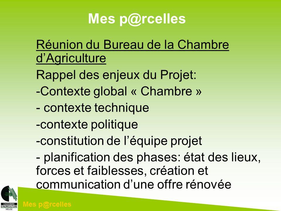 Mes p@rcelles Réunion du Bureau de la Chambre dAgriculture Rappel des enjeux du Projet: -Contexte global « Chambre » - contexte technique -contexte po