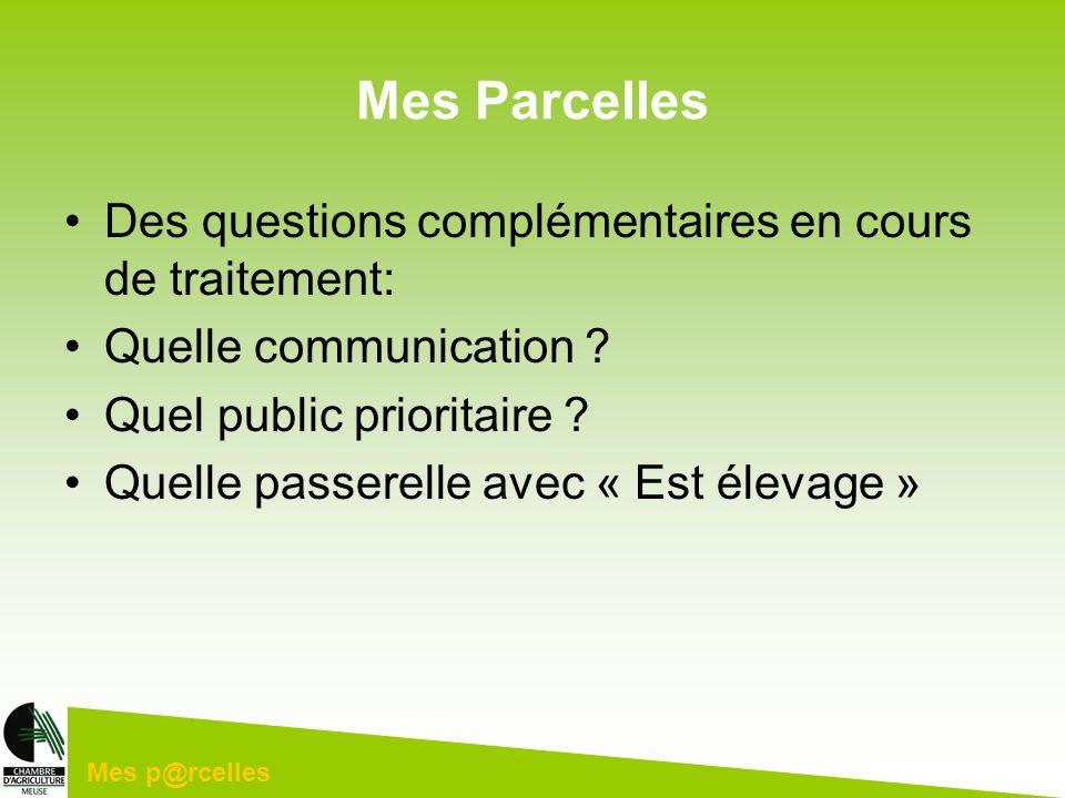 Mes p@rcelles Mes Parcelles Des questions complémentaires en cours de traitement: Quelle communication ? Quel public prioritaire ? Quelle passerelle a