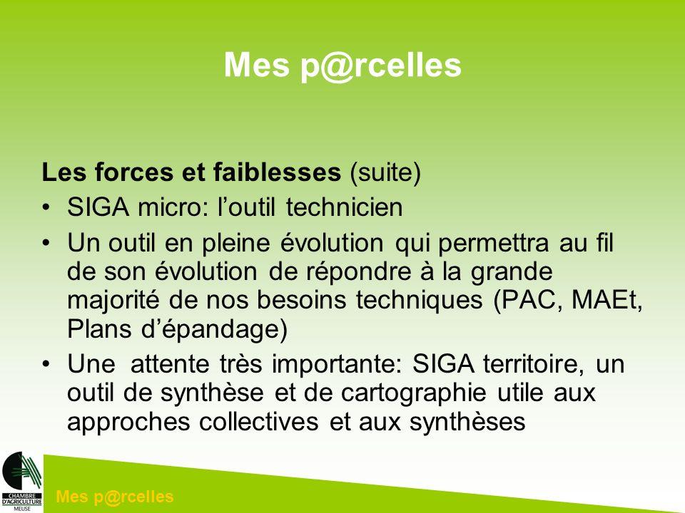 Mes p@rcelles Les forces et faiblesses (suite) SIGA micro: loutil technicien Un outil en pleine évolution qui permettra au fil de son évolution de rép