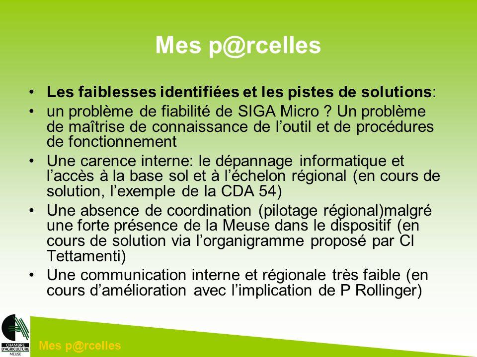 Mes p@rcelles Les faiblesses identifiées et les pistes de solutions: un problème de fiabilité de SIGA Micro ? Un problème de maîtrise de connaissance