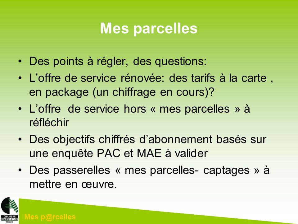 Mes p@rcelles Mes parcelles Des points à régler, des questions: Loffre de service rénovée: des tarifs à la carte, en package (un chiffrage en cours)?
