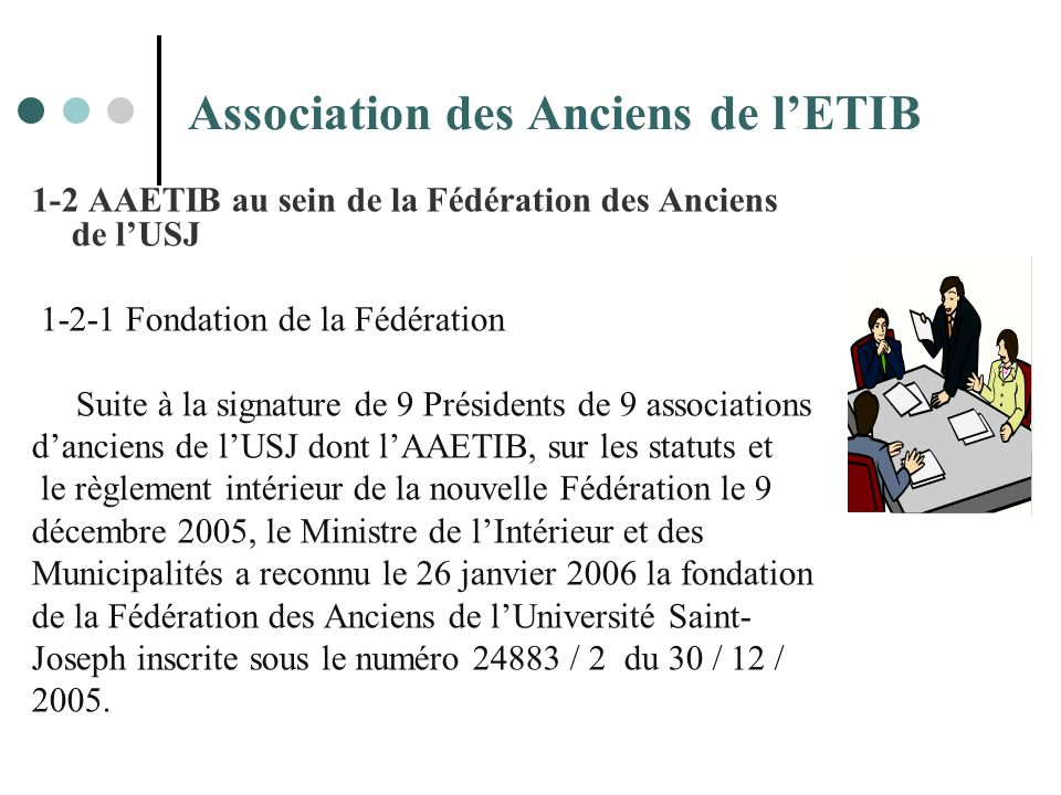 Association des Anciens de lETIB 1-2 AAETIB au sein de la Fédération des Anciens de lUSJ 1-2-1 Fondation de la Fédération Suite à la signature de 9 Pr