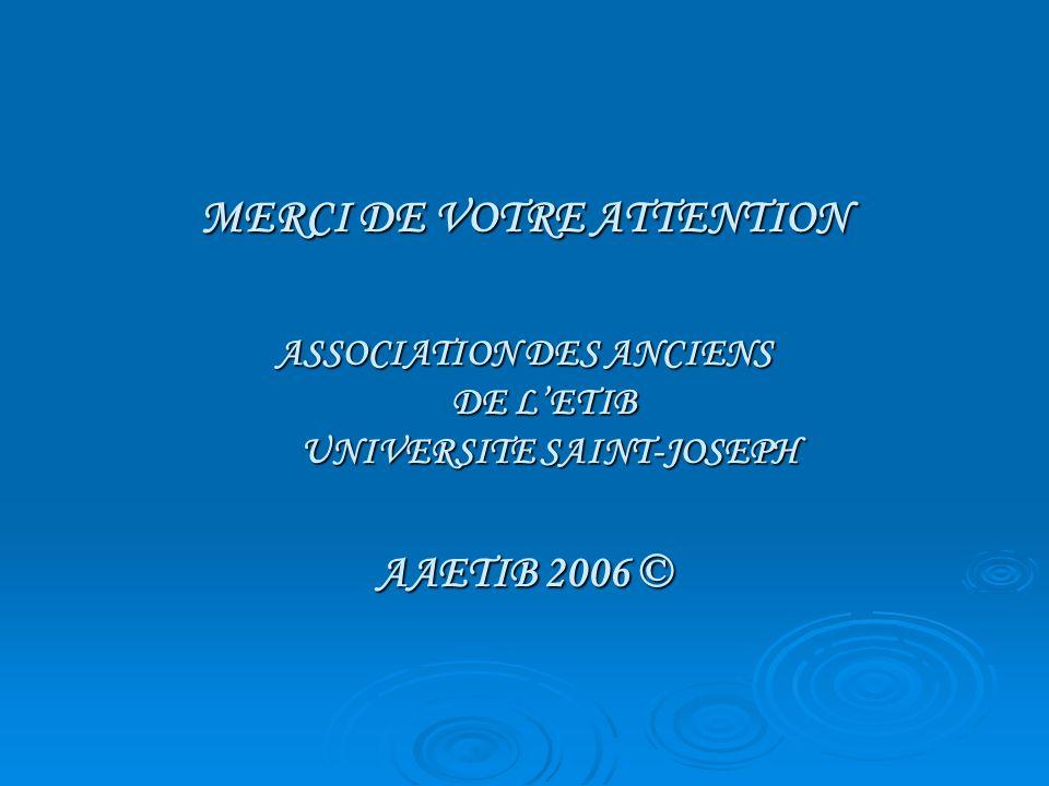 MERCI DE VOTRE ATTENTION ASSOCIATION DES ANCIENS DE LETIB UNIVERSITE SAINT-JOSEPH AAETIB 2006 ©
