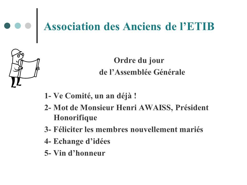 Association des Anciens de lETIB Ordre du jour de lAssemblée Générale 1- Ve Comité, un an déjà ! 2- Mot de Monsieur Henri AWAISS, Président Honorifiqu