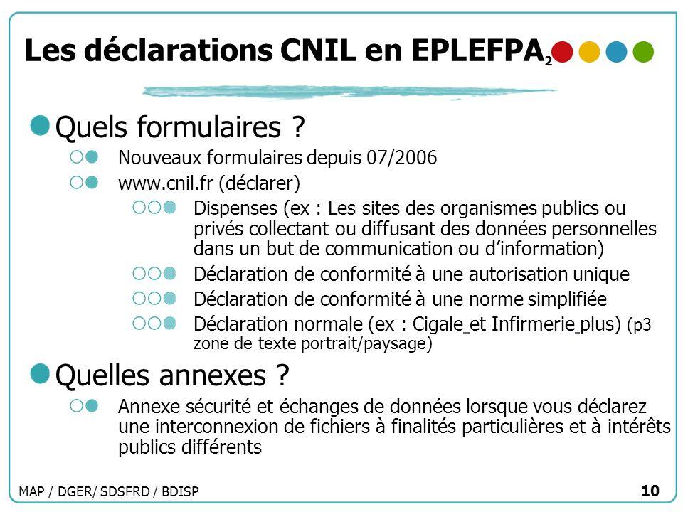 MAP / DGER/ SDSFRD / BDISP 10 Les déclarations CNIL en EPLEFPA 2 Quels formulaires ? Nouveaux formulaires depuis 07/2006 www.cnil.fr (déclarer) Dispen