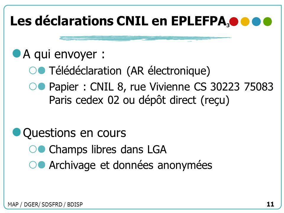 MAP / DGER/ SDSFRD / BDISP 11 Les déclarations CNIL en EPLEFPA 3 A qui envoyer : Télédéclaration (AR électronique) Papier : CNIL 8, rue Vivienne CS 30
