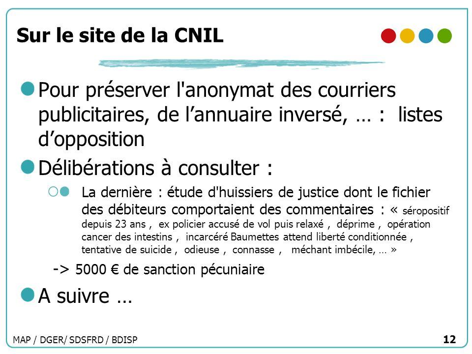 MAP / DGER/ SDSFRD / BDISP 12 Sur le site de la CNIL Pour préserver l'anonymat des courriers publicitaires, de lannuaire inversé, … : listes doppositi